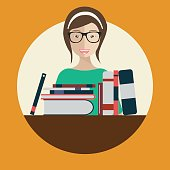 Librarian woman with books. Flat vector illustration.