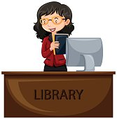 Librarian working at desk