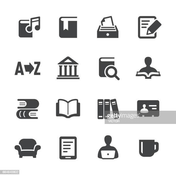 library and books icons - acme series - library stock illustrations