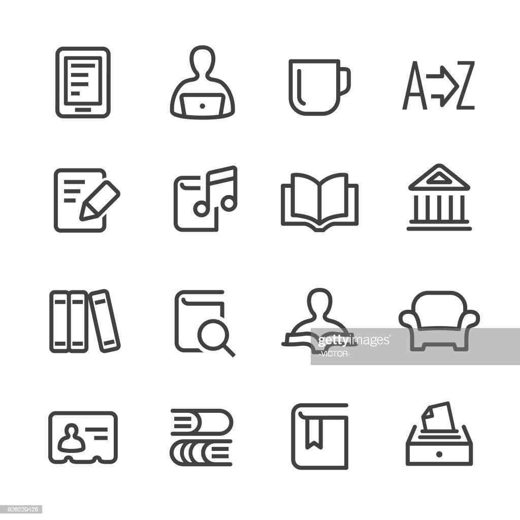 Library and books Icons - Line Series : stock illustration