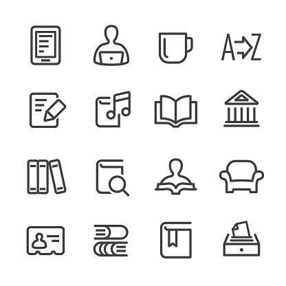 Library and books Icons - Line Series - gettyimageskorea