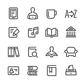 Library and books Icons - Line Series