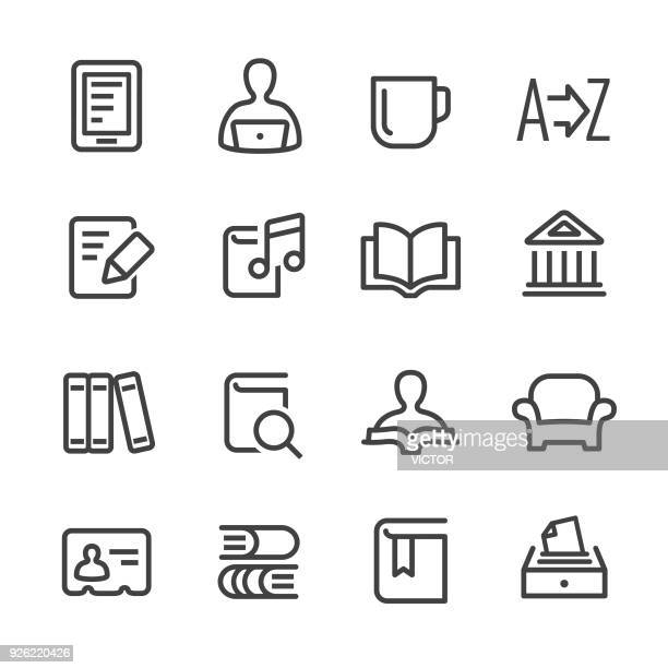 library and books icons - line series - library stock illustrations