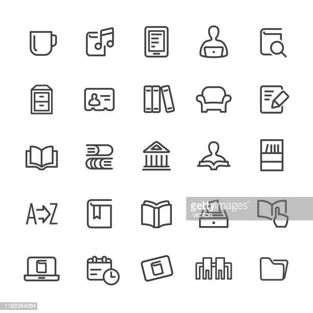 library and books icons - smart line series - library stock illustrations, clip art, cartoons, & icons