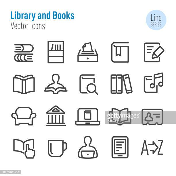 library and books icons - vector line series - library stock illustrations, clip art, cartoons, & icons