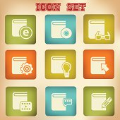 Library books vintage icons,vector