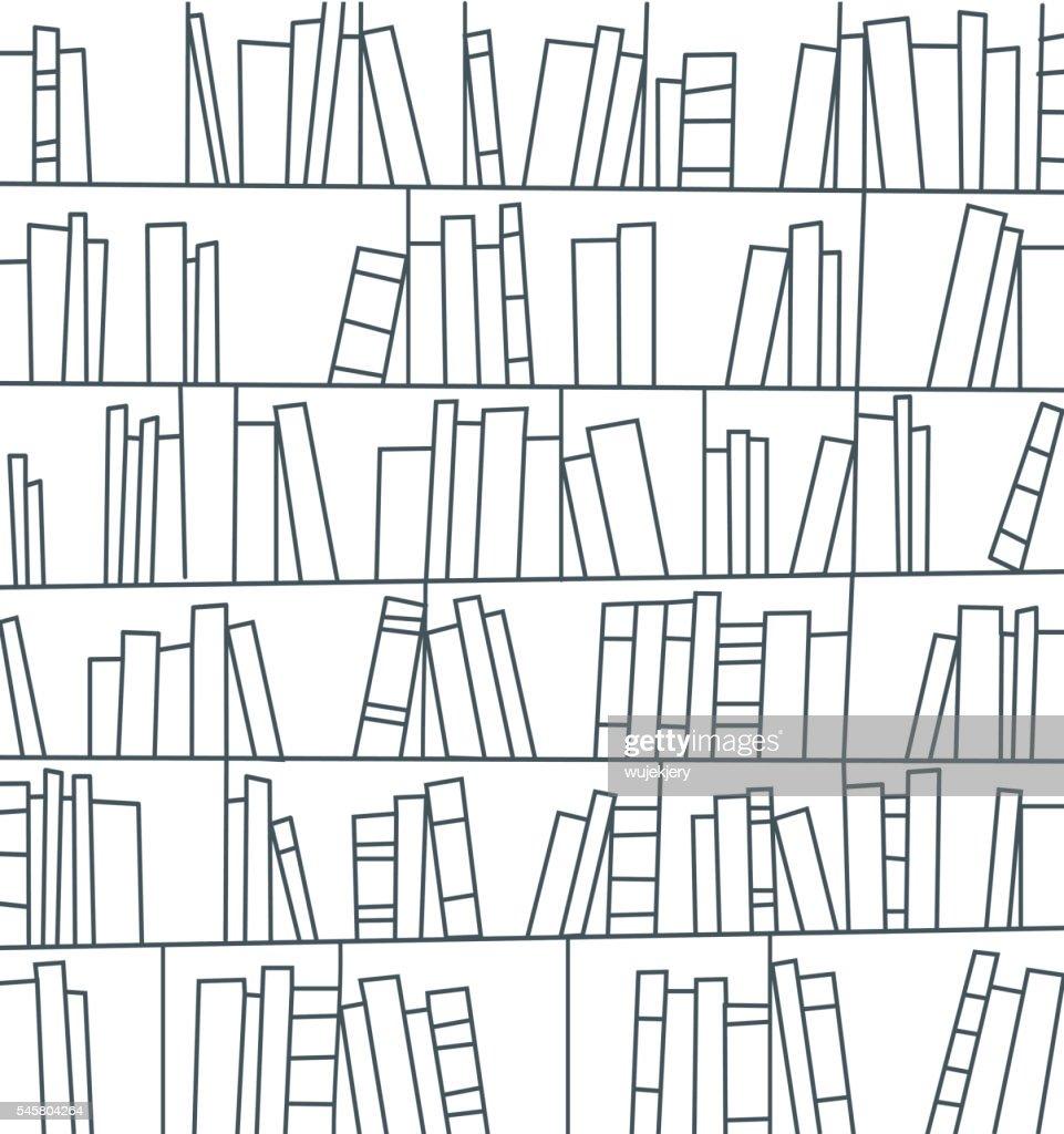 図書館,書棚 : ストックイラストレーション