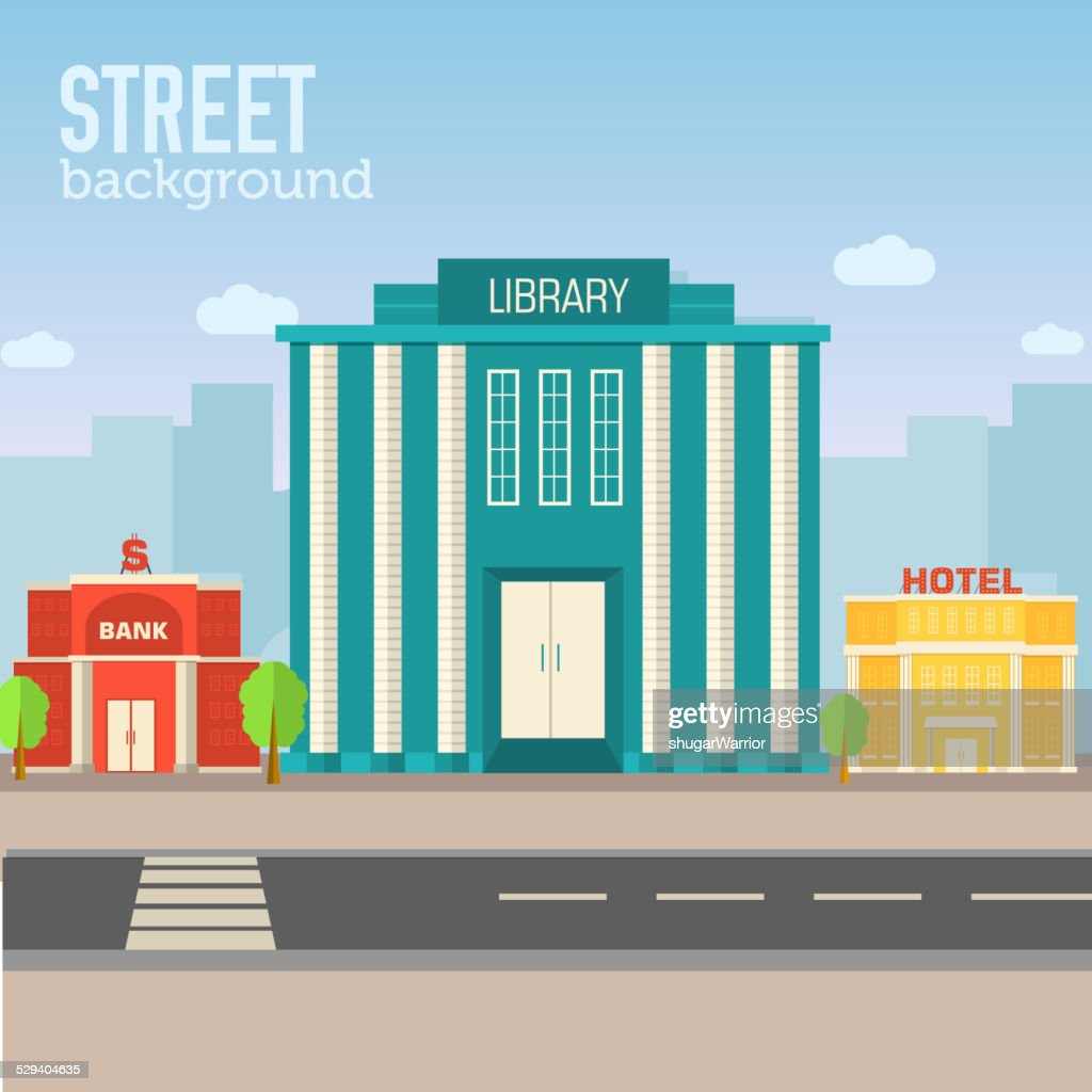 library building in city space with road on flat background