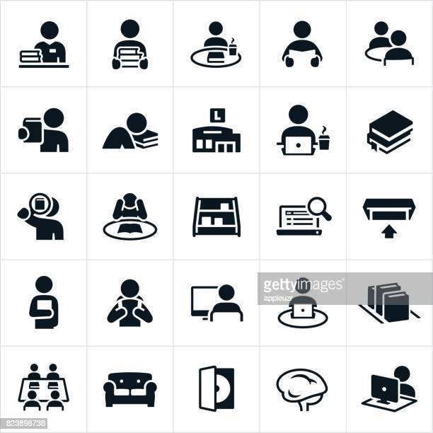 library icons - dvd stock illustrations
