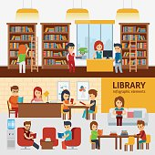 Library interior with people, reading books infographic elements.
