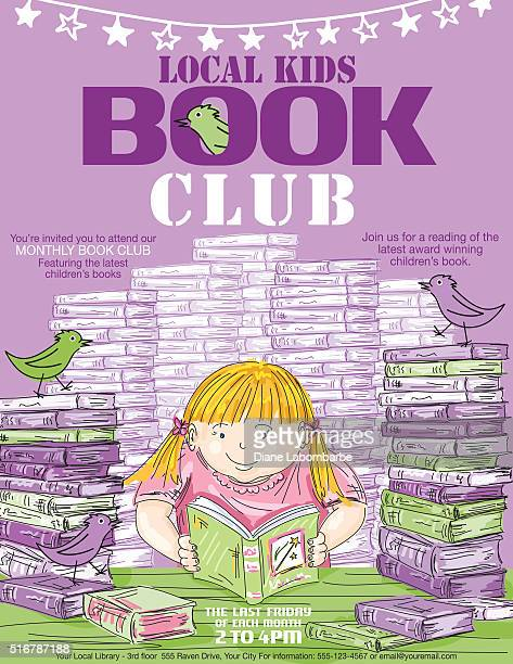 library kids book club poster template - library stock illustrations, clip art, cartoons, & icons