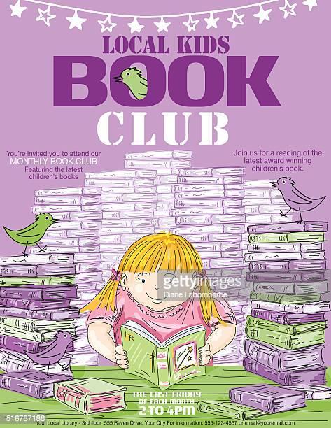ilustrações, clipart, desenhos animados e ícones de biblioteca crianças reserve clube modelo de cartaz - biblioteca
