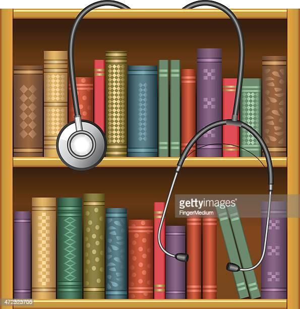 ilustrações, clipart, desenhos animados e ícones de biblioteca de medicina - livro de capa dura
