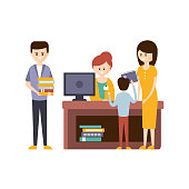 Library Or Bookstore With People Using Help Of Librarian