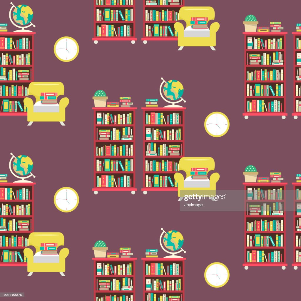 Library scene in flat design style