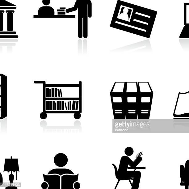 library school and education black and white vector icon set - library stock illustrations