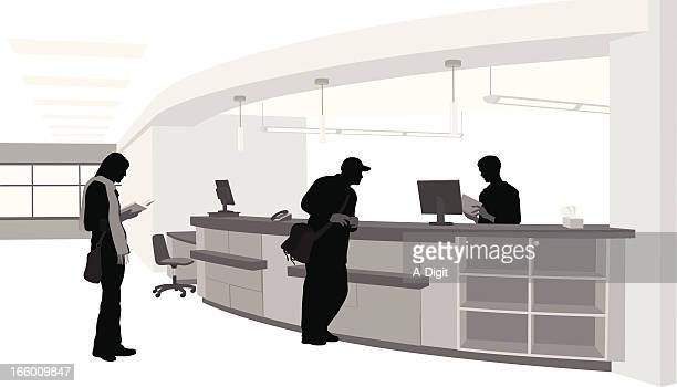 library services - hotel reception stock illustrations, clip art, cartoons, & icons