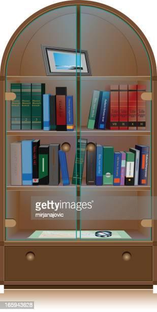 ilustrações, clipart, desenhos animados e ícones de biblioteca de prateleira - livro de capa dura