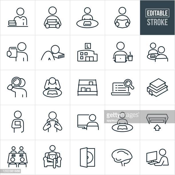 ilustraciones, imágenes clip art, dibujos animados e iconos de stock de iconos de línea delgada de la biblioteca - trazo editable - leer