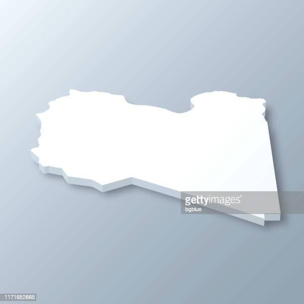 stockillustraties, clipart, cartoons en iconen met libië 3d-kaart op grijze achtergrond - libië