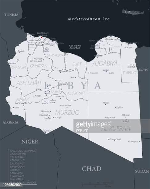 19-リビア - 黒グレー 10 - ベンガジ点のイラスト素材/クリップアート素材/マンガ素材/アイコン素材