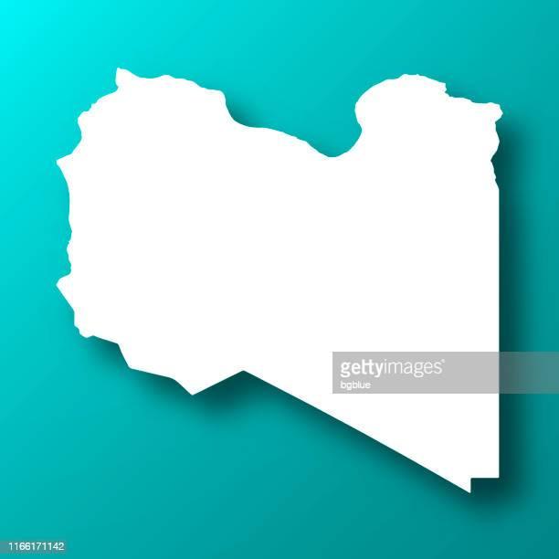 stockillustraties, clipart, cartoons en iconen met libië kaart op blauw groene achtergrond met schaduw - libië