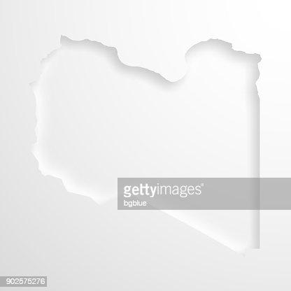 Libya Map On Blue Background Long Shadow Flat Design Vector Art - Libya blank map