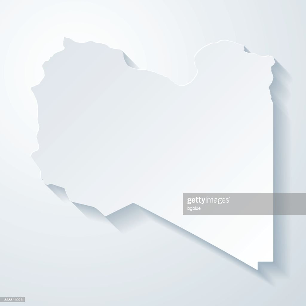 Libya Map With Paper Cut Effect On Blank Background Vector Art - Libya blank map