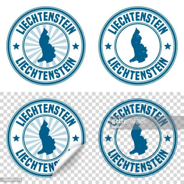 liechtenstein - blue sticker and stamp with name and map - principality of liechtenstein stock illustrations