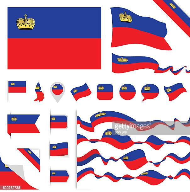 liechtenstein flag set - principality of liechtenstein stock illustrations