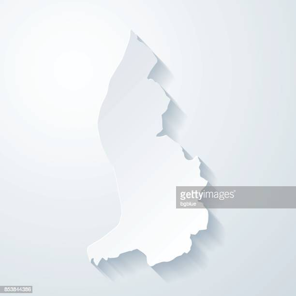 liechtenstein map with paper cut effect on blank background - liechtenstein stock illustrations