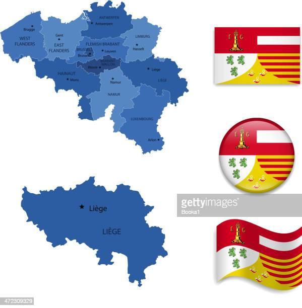 liege province set - antwerp province belgium stock illustrations
