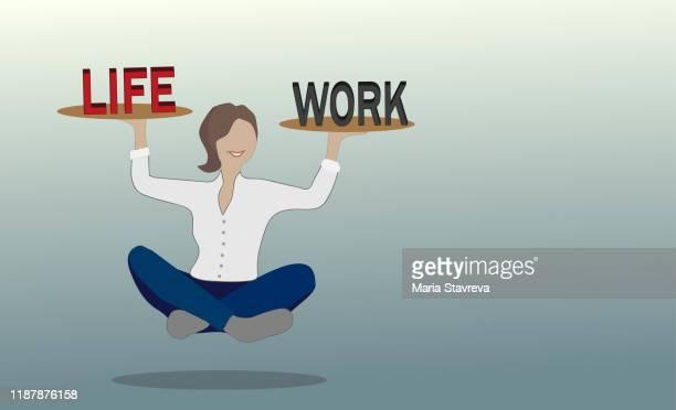 illustrazioni stock, clip art, cartoni animati e icone di tendenza di equilibrio tra vita e lavoro. - armonia