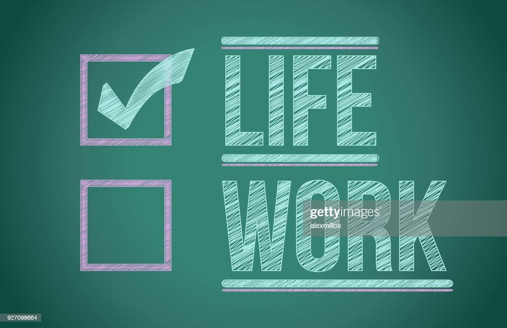 Life and work choices illustration design on a blackboard