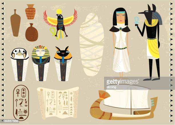 life as an egyptians - figurine stock illustrations, clip art, cartoons, & icons
