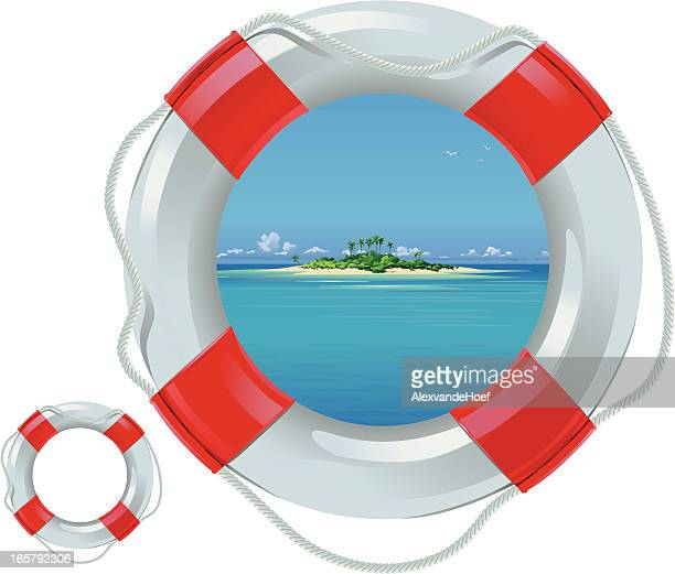 life buoy with view on tropical island - buoy stock illustrations, clip art, cartoons, & icons