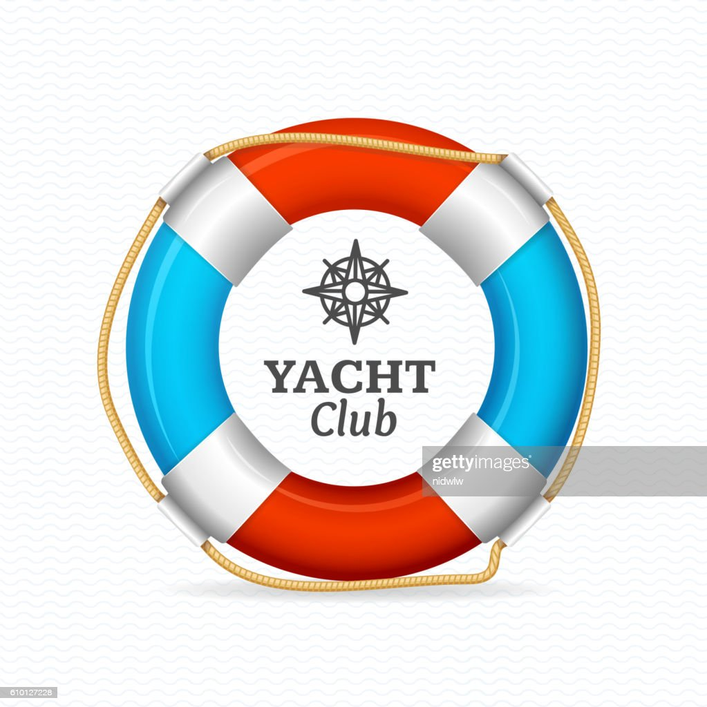 Life Buoy Yacht Club Corporate Sign Concept. Vector