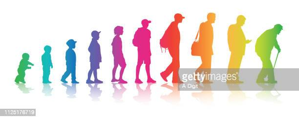 life changes your colors - mature adult stock illustrations