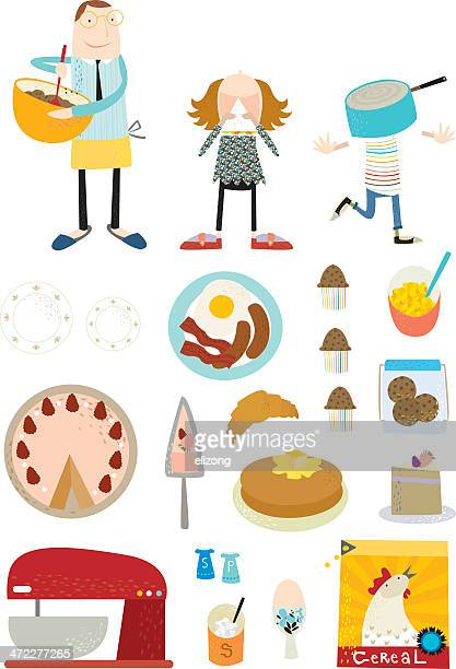 life in a day -breakfast! - muffin stock illustrations, clip art, cartoons, & icons