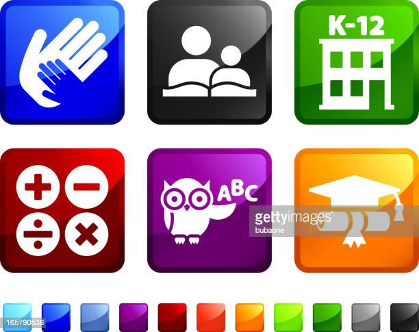 Life in school royalty free vector icon set stickers