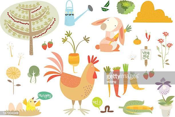 ilustrações, clipart, desenhos animados e ícones de a vida no barn- comida - bok choy