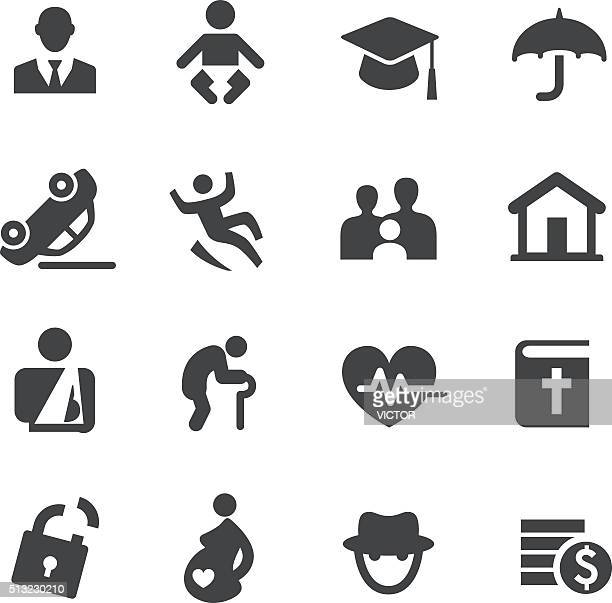 life insurance icons - acme series - misfortune stock illustrations, clip art, cartoons, & icons