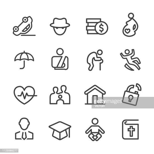 life insurance icons - line series - graphic car accidents stock illustrations