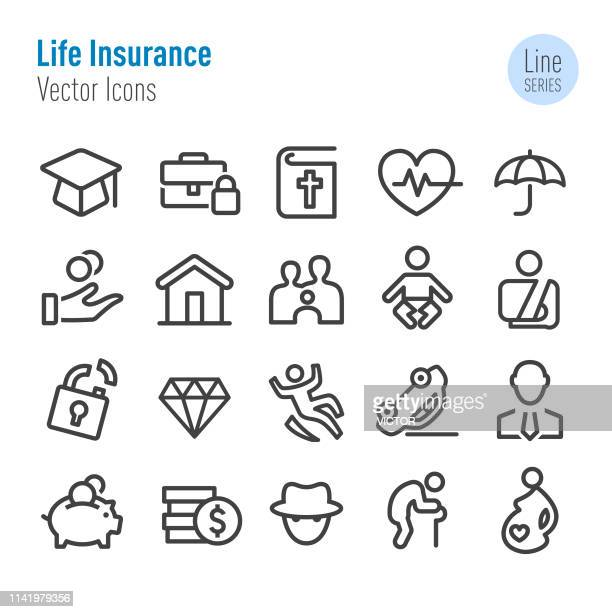 life insurance icons - vector line series - graphic car accidents stock illustrations