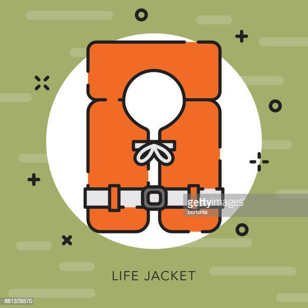 life jacket open outline camping icon - life jacket stock illustrations