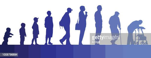 life journey men - mature adult stock illustrations