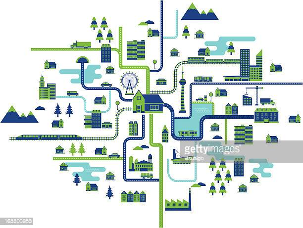 life map - thoroughfare stock illustrations, clip art, cartoons, & icons