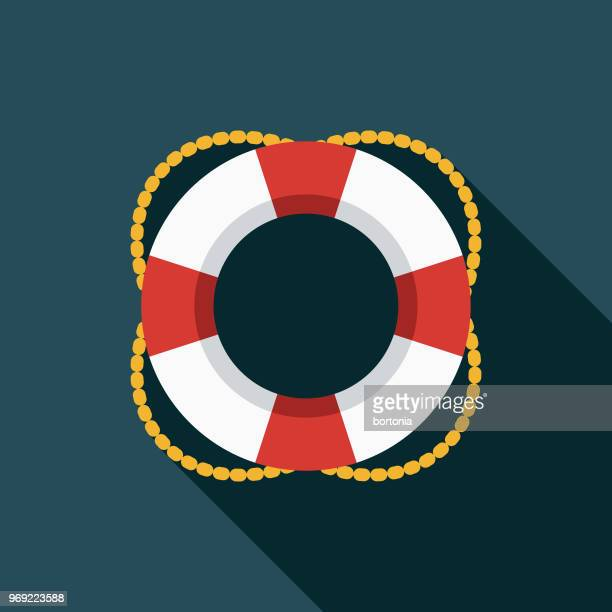life preserver flat design summer icon with side shadow - lifeguard stock illustrations