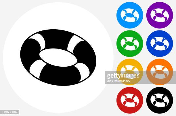 Life Saver Icon on Flat Color Circle Buttons