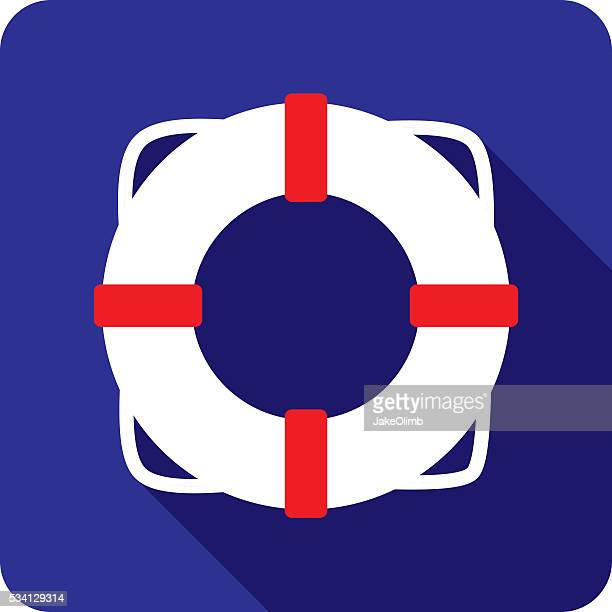 life saver ring icon silhouette - motorboating stock illustrations, clip art, cartoons, & icons